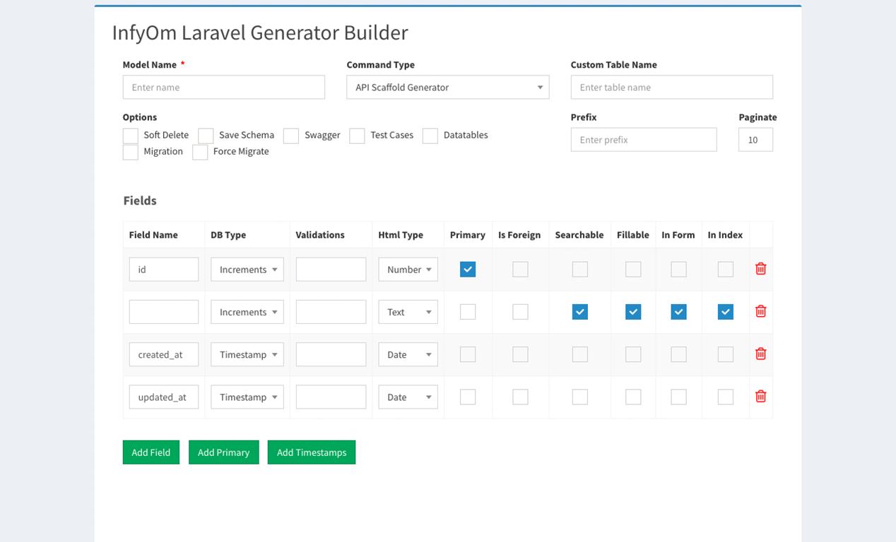 Laravel Generator Builder